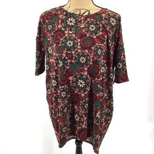 New Lularoe Irma Tunic Top Red Floral M Green